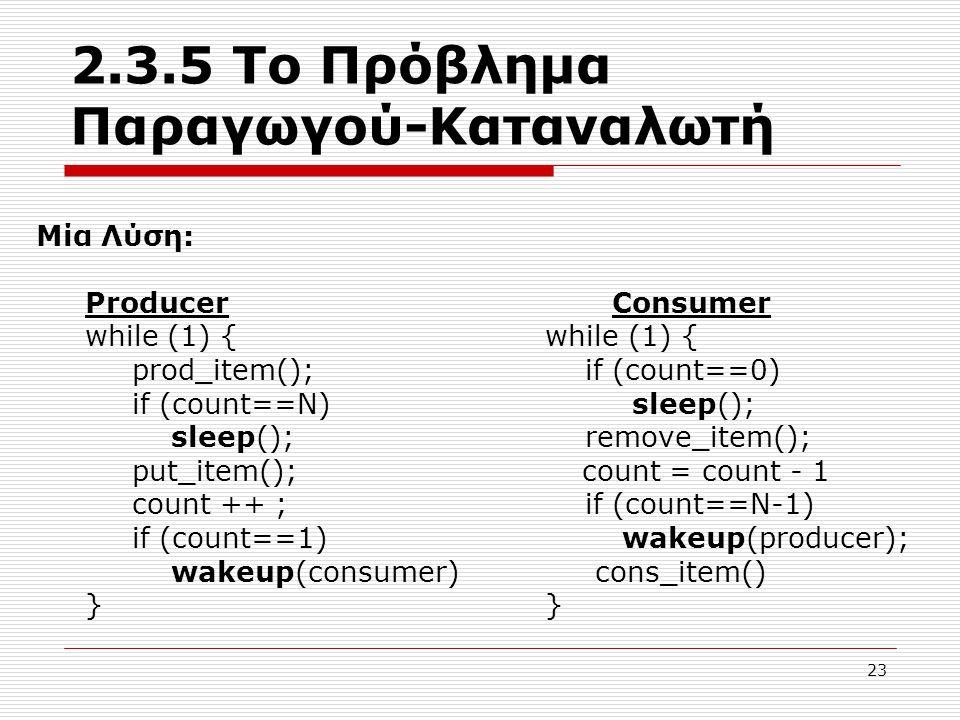 2.3.5 Το Πρόβλημα Παραγωγού-Καταναλωτή