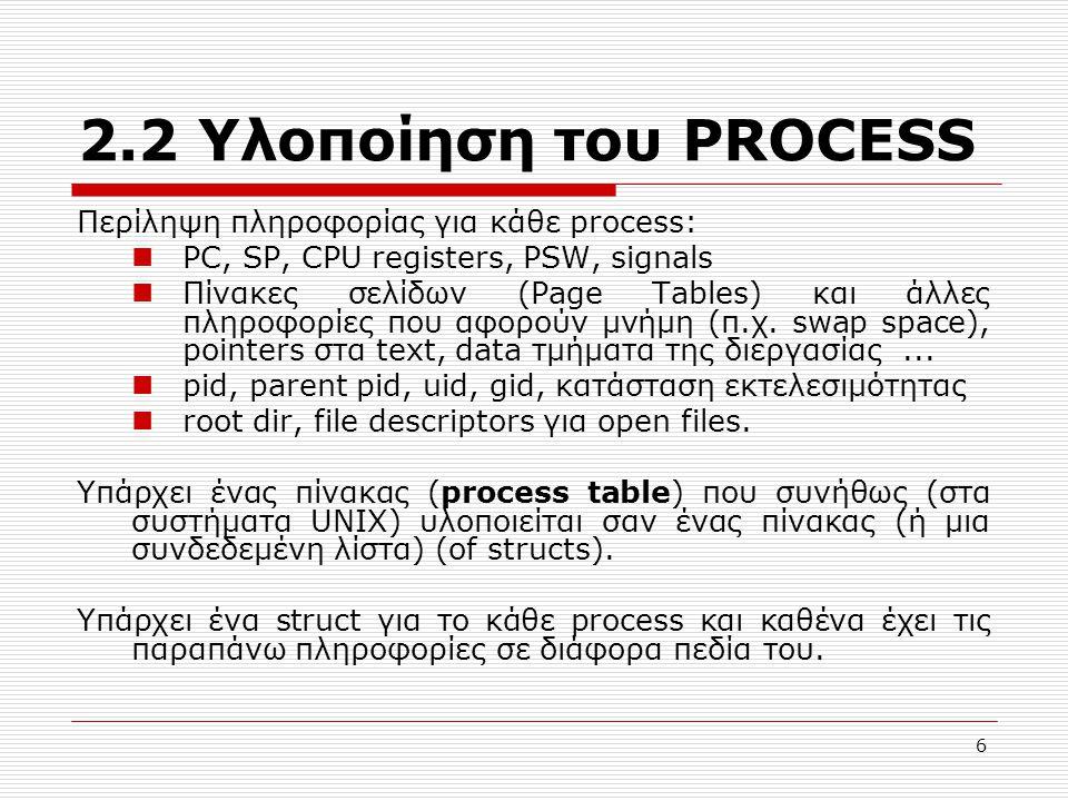 2.2 Υλοποίηση του PROCESS Περίληψη πληροφορίας για κάθε process: