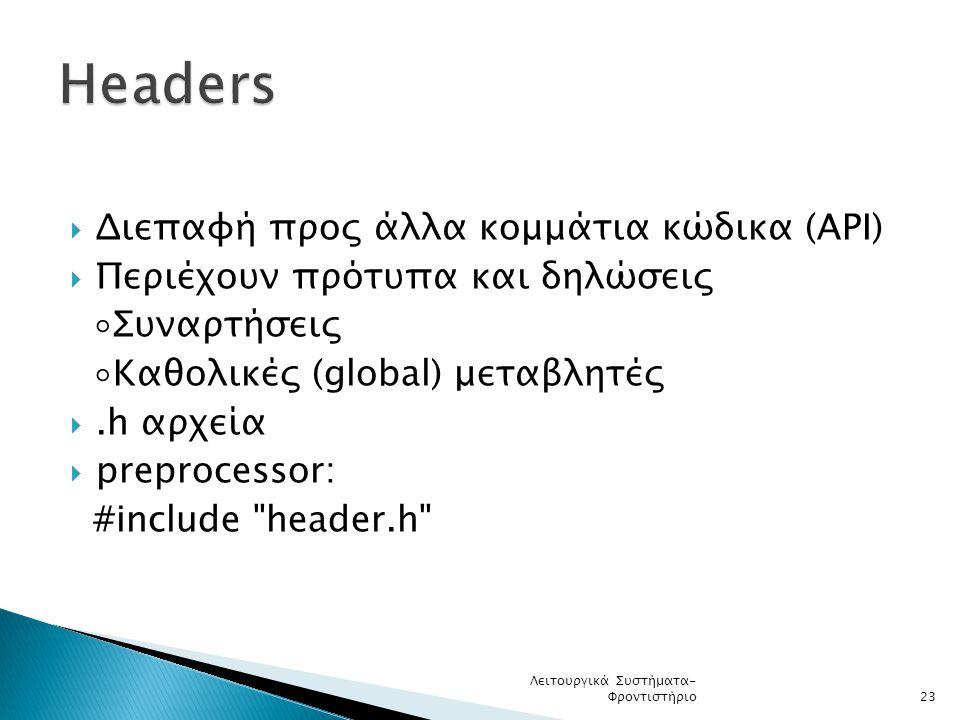 Headers Διεπαφή προς άλλα κομμάτια κώδικα (API)