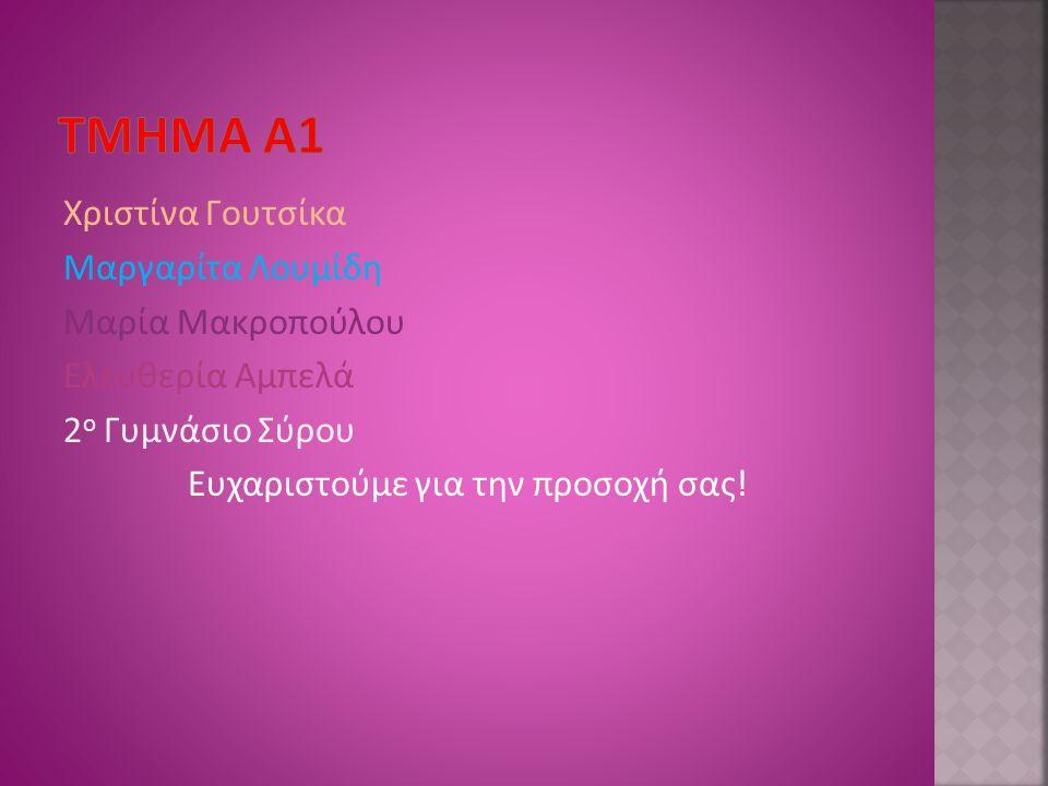 Τμημα α1 Χριστίνα Γουτσίκα Μαργαρίτα Λουμίδη Μαρία Μακροπούλου Ελευθερία Αμπελά 2ο Γυμνάσιο Σύρου Ευχαριστούμε για την προσοχή σας.