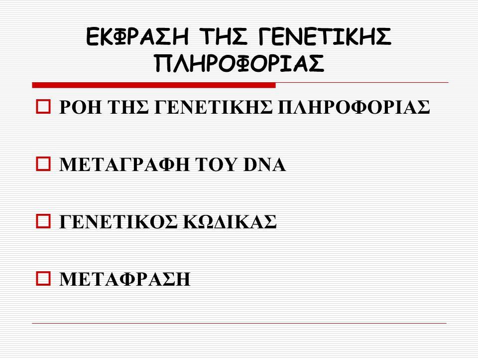 ΕΚΦΡΑΣΗ ΤΗΣ ΓΕΝΕΤΙΚΗΣ ΠΛΗΡΟΦΟΡΙΑΣ
