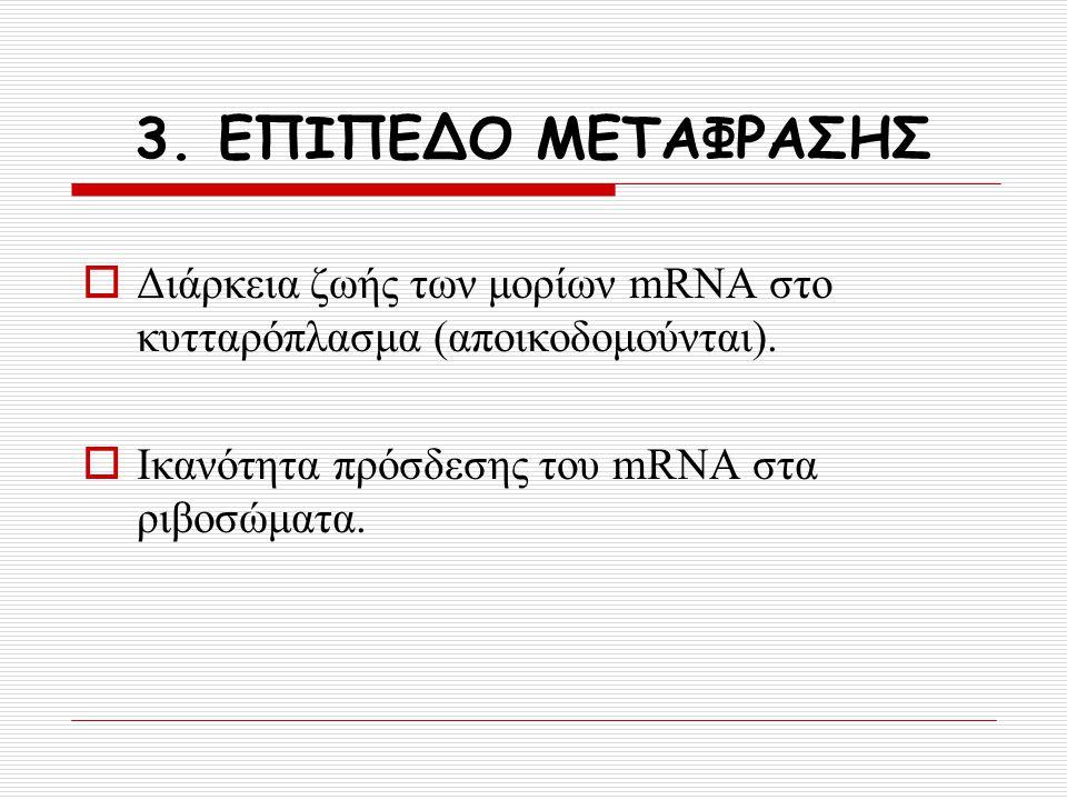 3. ΕΠΙΠΕΔΟ ΜΕΤΑΦΡΑΣΗΣ Διάρκεια ζωής των μορίων mRNA στο κυτταρόπλασμα (αποικοδομούνται).