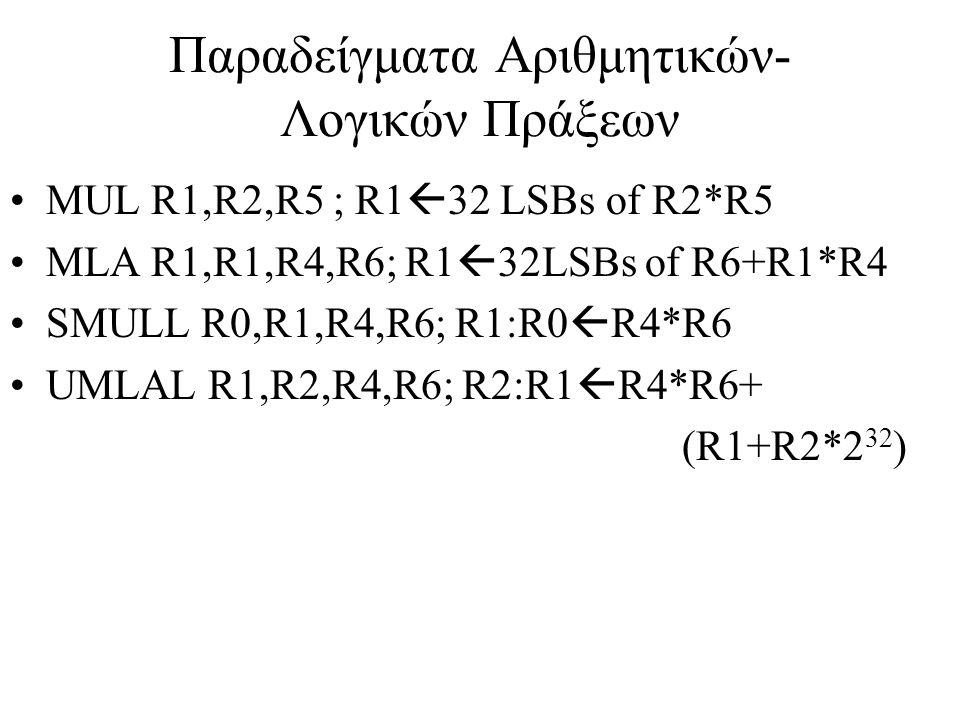 Παραδείγματα Αριθμητικών-Λογικών Πράξεων