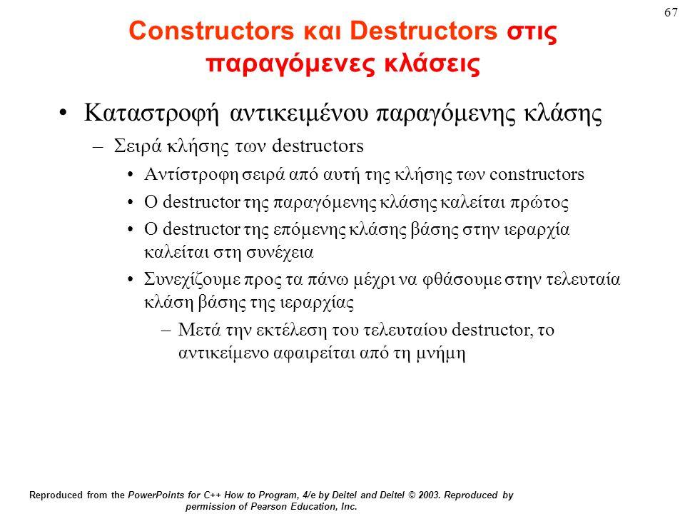 Constructors και Destructors στις παραγόμενες κλάσεις