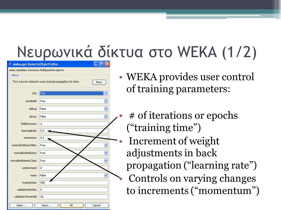 Νευρωνικά δίκτυα στο WEKA (1/2)