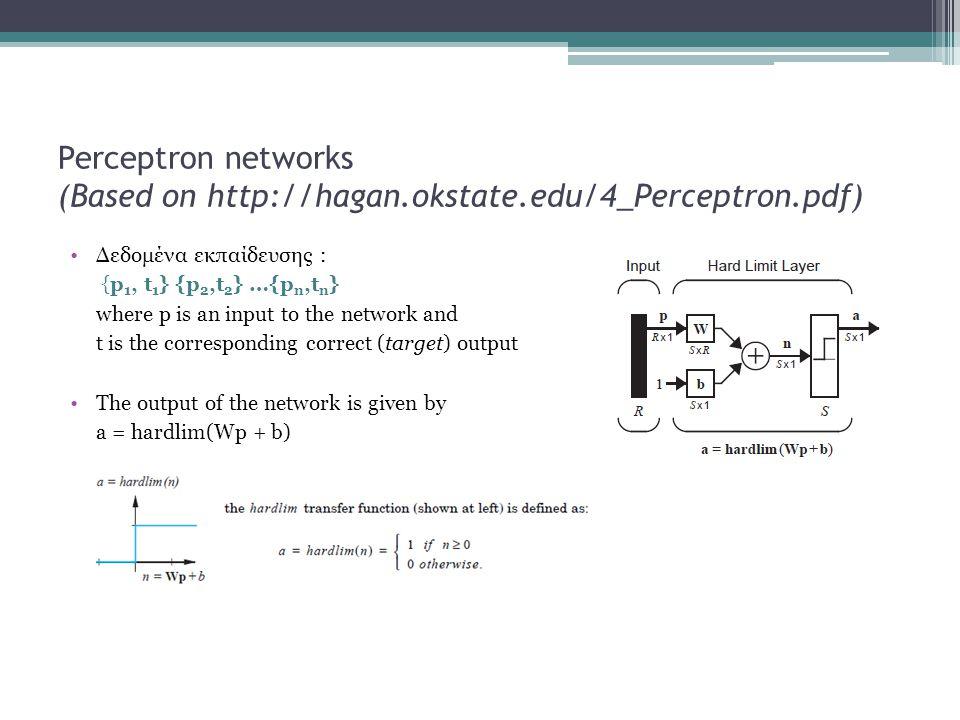 Perceptron networks (Based on http://hagan. okstate. edu/4_Perceptron