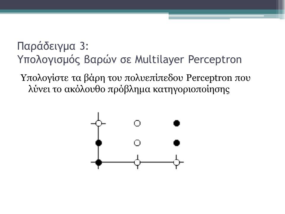 Παράδειγμα 3: Υπολογισμός βαρών σε Multilayer Perceptron