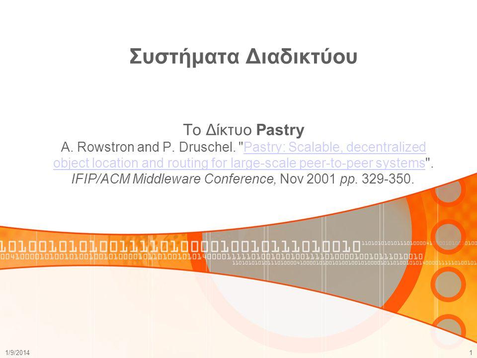 Συστήματα Διαδικτύου To Δίκτυο Pastry A. Rowstron and P. Druschel
