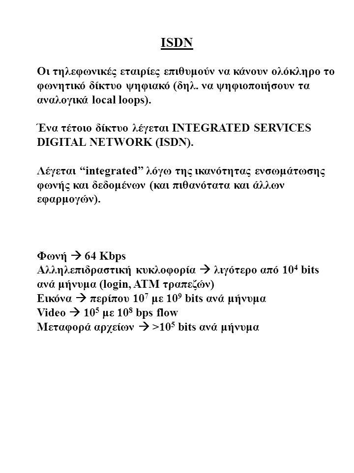 ISDN Οι τηλεφωνικές εταιρίες επιθυμούν να κάνουν ολόκληρο το φωνητικό δίκτυο ψηφιακό (δηλ. να ψηφιοποιήσουν τα αναλογικά local loops).
