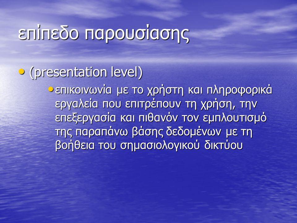 επίπεδο παρουσίασης (presentation level)