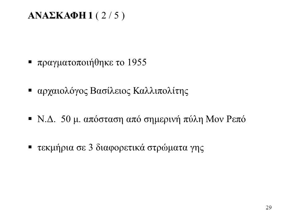 ΑΝΑΣΚΑΦΗ 1 ( 2 / 5 ) πραγματοποιήθηκε το 1955. αρχαιολόγος Βασίλειος Καλλιπολίτης. Ν.Δ. 50 μ. απόσταση από σημερινή πύλη Μον Ρεπό.