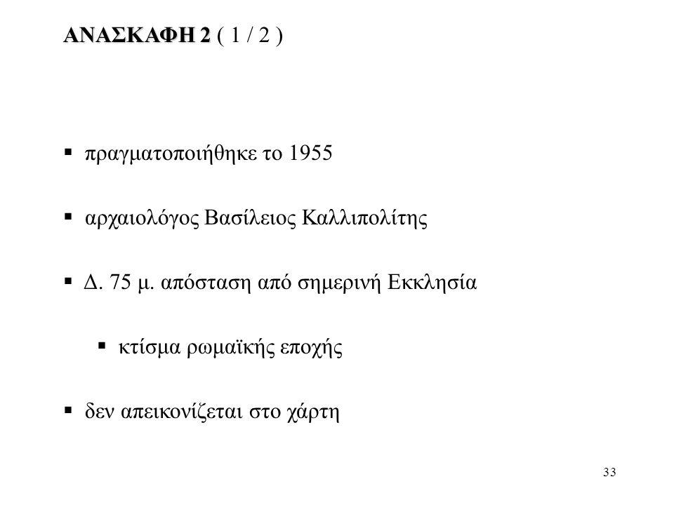 ΑΝΑΣΚΑΦΗ 2 ( 1 / 2 ) πραγματοποιήθηκε το 1955. αρχαιολόγος Βασίλειος Καλλιπολίτης. Δ. 75 μ. απόσταση από σημερινή Εκκλησία.