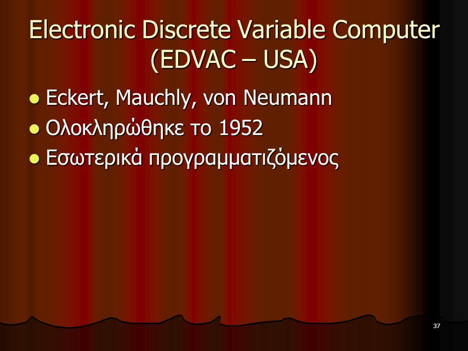 Electronic Discrete Variable Computer (EDVAC – USA)