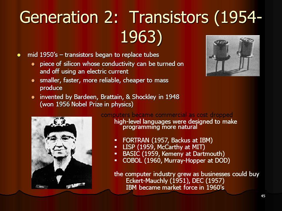 Generation 2: Transistors (1954-1963)