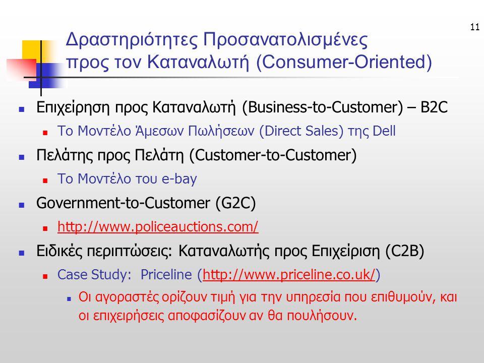 Δραστηριότητες Προσανατολισμένες προς τον Καταναλωτή (Consumer-Oriented)