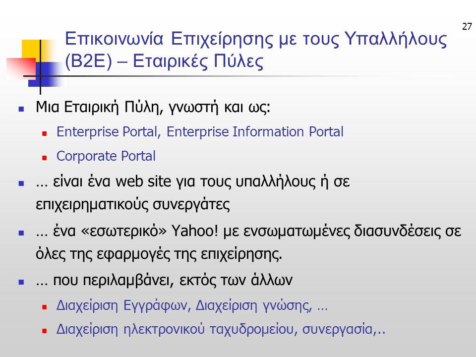 Επικοινωνία Επιχείρησης με τους Υπαλλήλους (Β2Ε) – Εταιρικές Πύλες