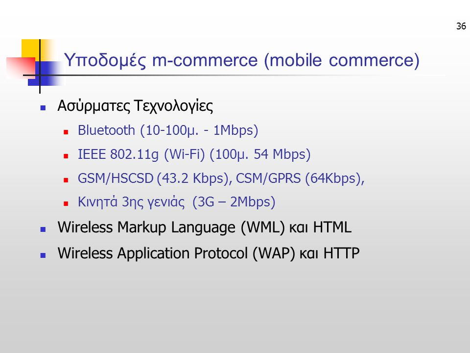 Υποδομές m-commerce (mobile commerce)
