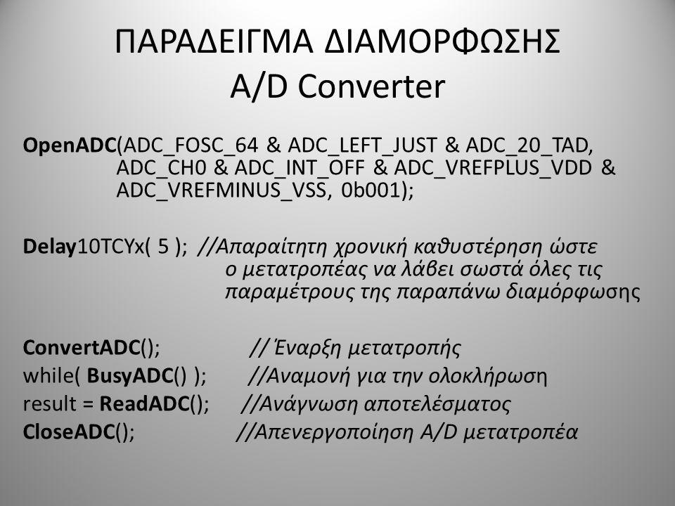 ΠΑΡΑΔΕΙΓΜΑ ΔΙΑΜΟΡΦΩΣΗΣ A/D Converter