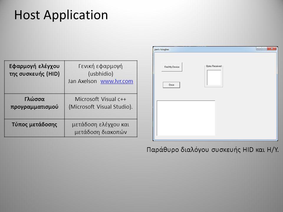 Εφαρμογή ελέγχου της συσκευής (HID) Γλώσσα προγραμματισμού