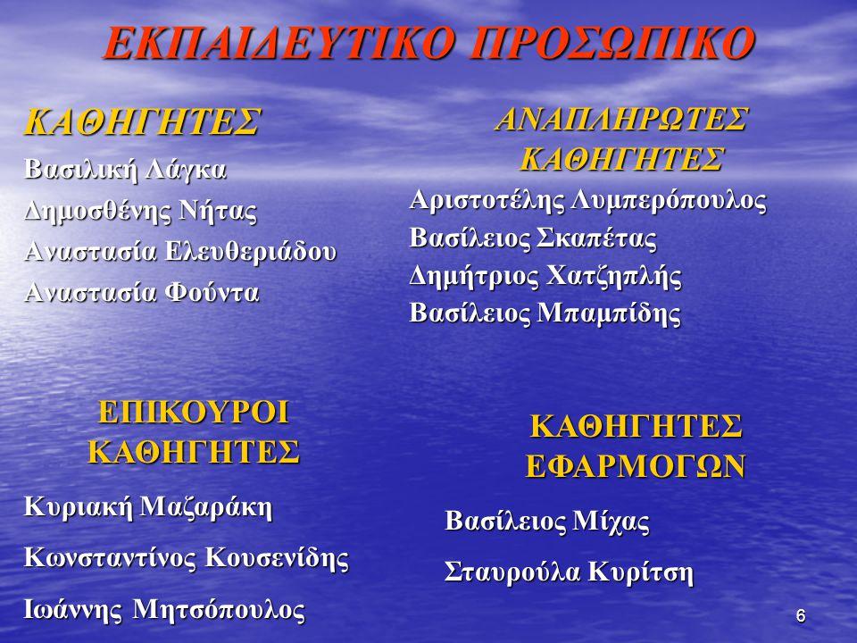 ΕΚΠΑΙΔΕΥΤΙΚΟ ΠΡΟΣΩΠΙΚΟ