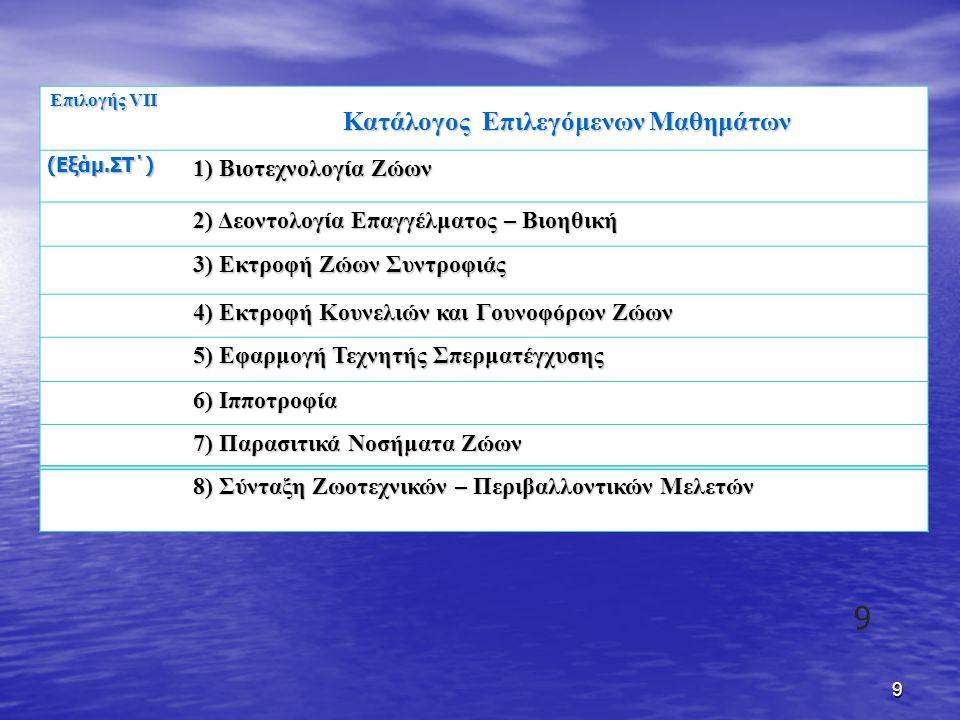 Κατάλογος Επιλεγόμενων Μαθημάτων