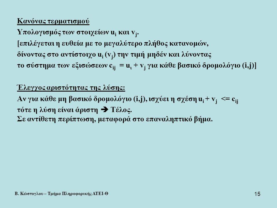 Υπολογισμός των στοιχείων ui και vj.