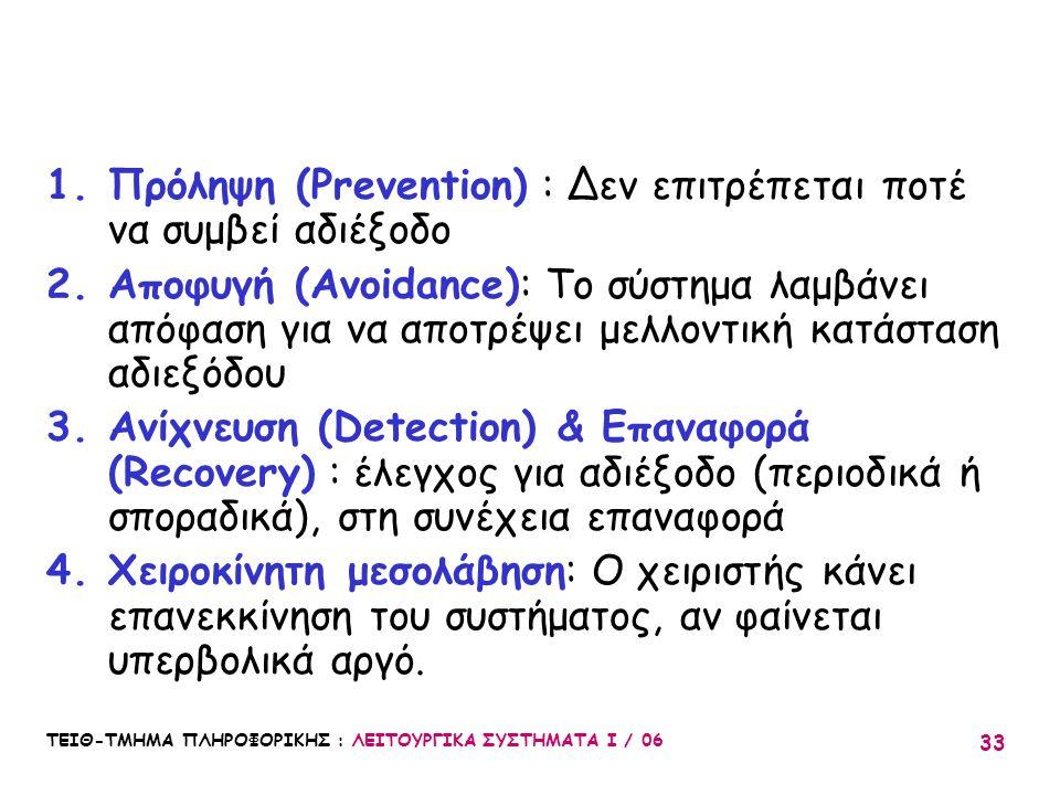 Πρόληψη (Prevention) : Δεν επιτρέπεται ποτέ να συμβεί αδιέξοδο