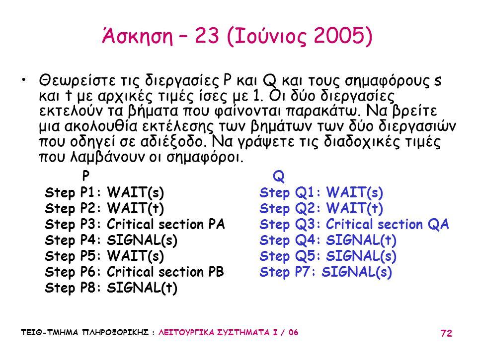 Άσκηση – 23 (Ιούνιος 2005)