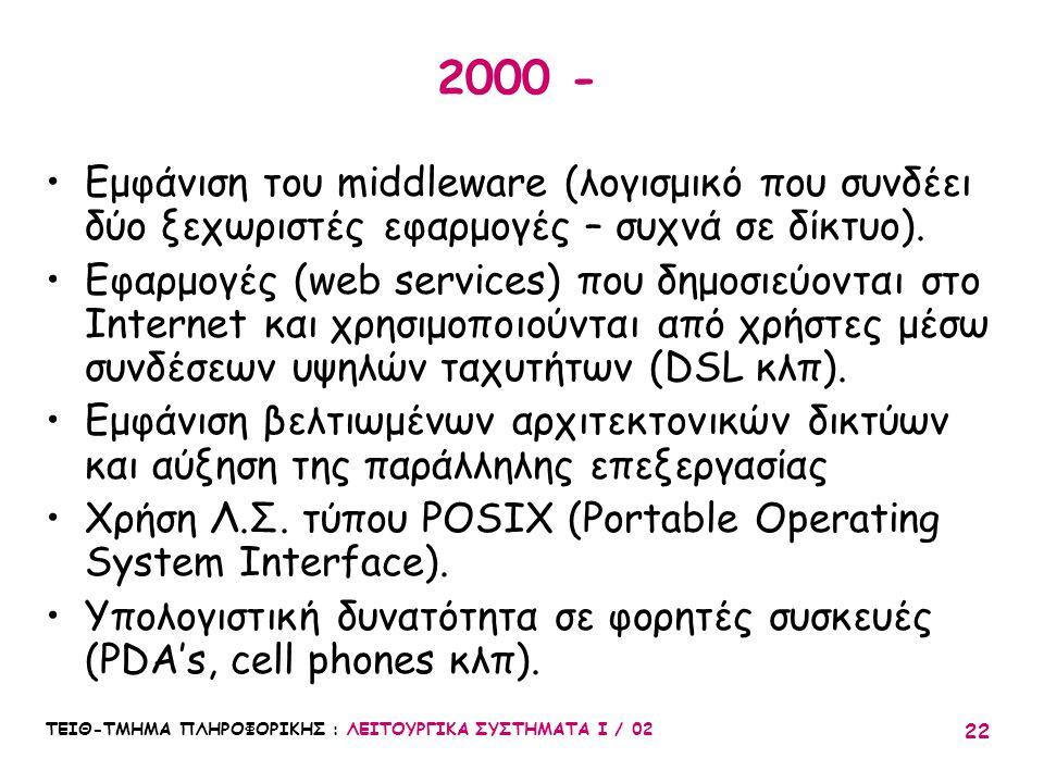 2000 - Εμφάνιση του middleware (λογισμικό που συνδέει δύο ξεχωριστές εφαρμογές – συχνά σε δίκτυο).