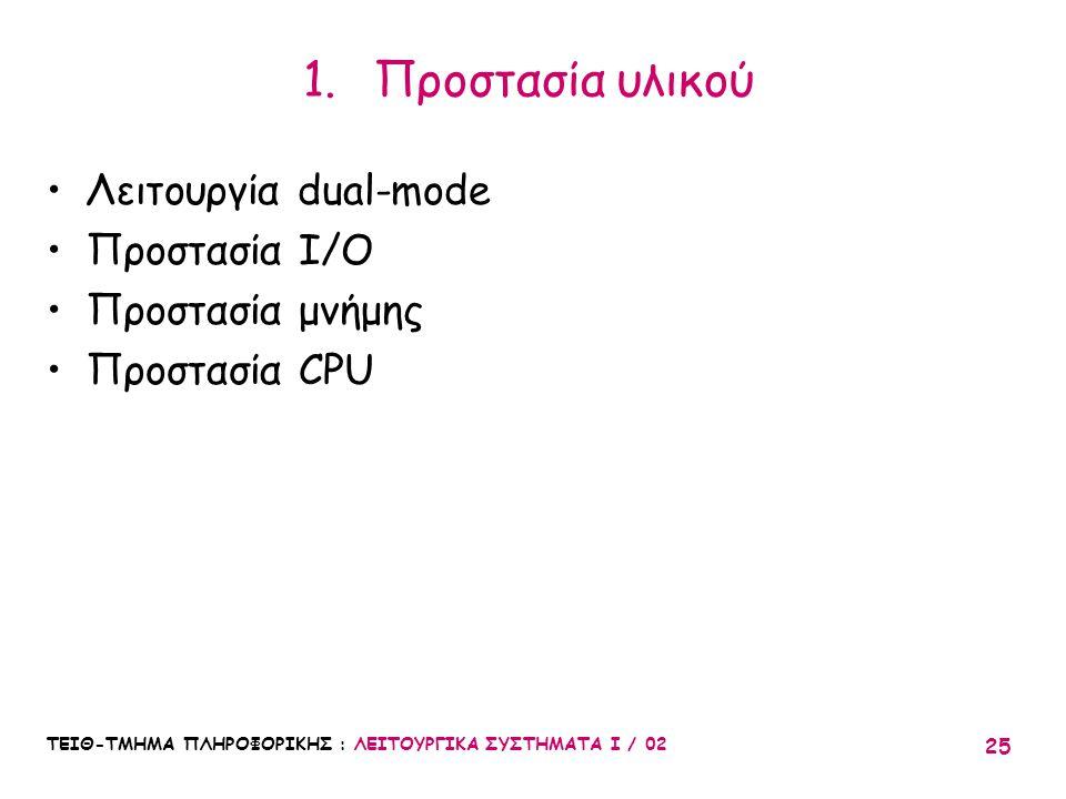 Προστασία υλικού Λειτουργία dual-mode Προστασία I/O Προστασία μνήμης