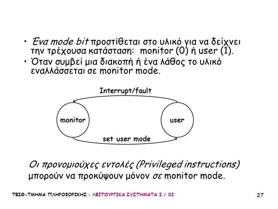 Ένα mode bit προστίθεται στο υλικό για να δείχνει την τρέχουσα κατάσταση: monitor (0) ή user (1).
