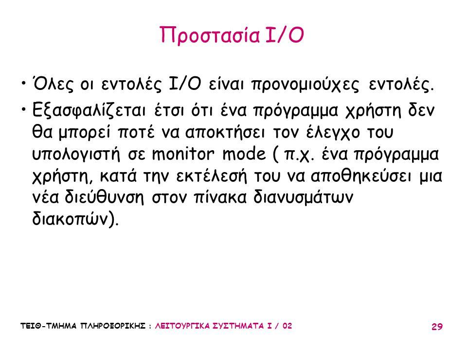 Προστασία I/O Όλες οι εντολές I/O είναι προνομιούχες εντολές.