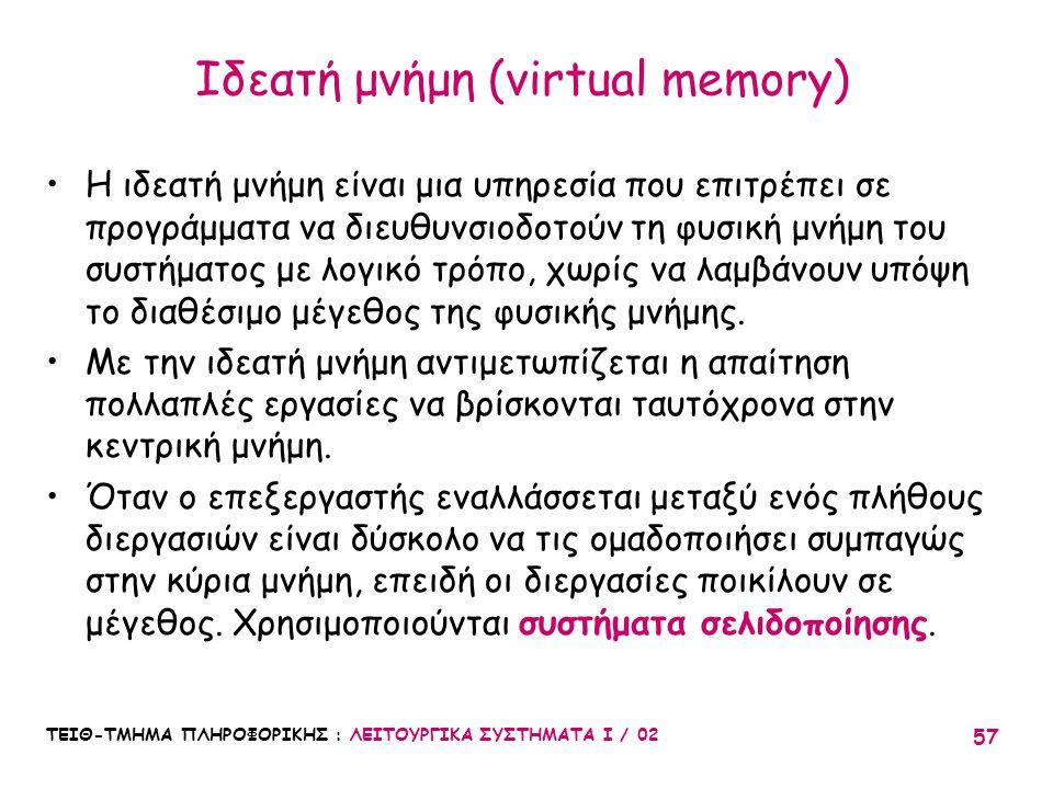 Ιδεατή μνήμη (virtual memory)
