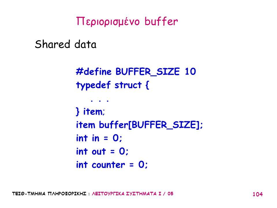 Περιορισμένο buffer Shared data #define BUFFER_SIZE 10
