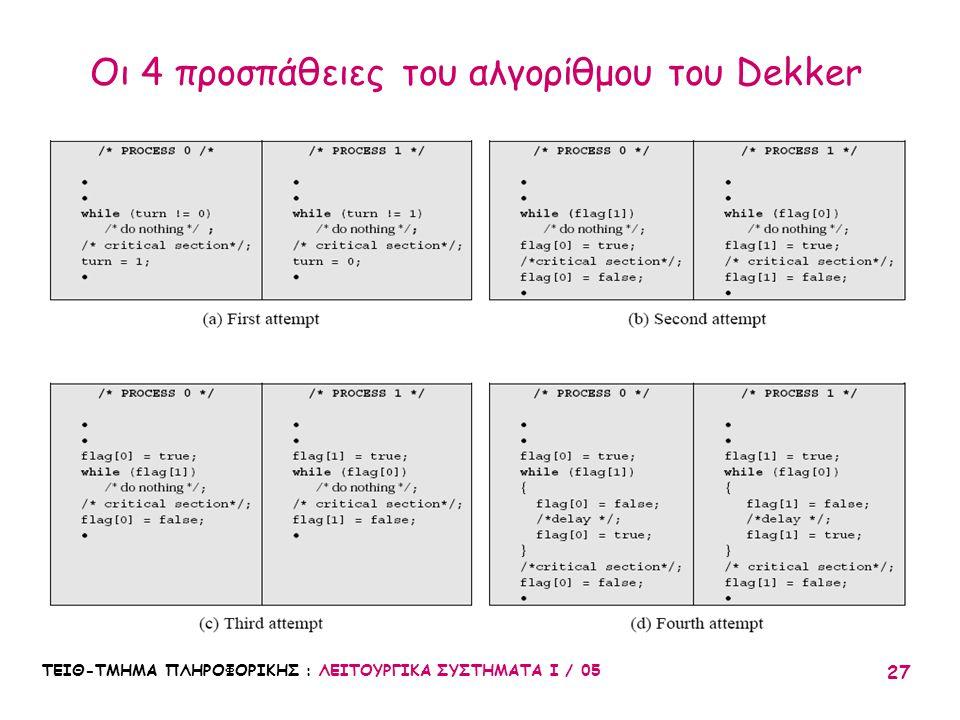 Οι 4 προσπάθειες του αλγορίθμου του Dekker