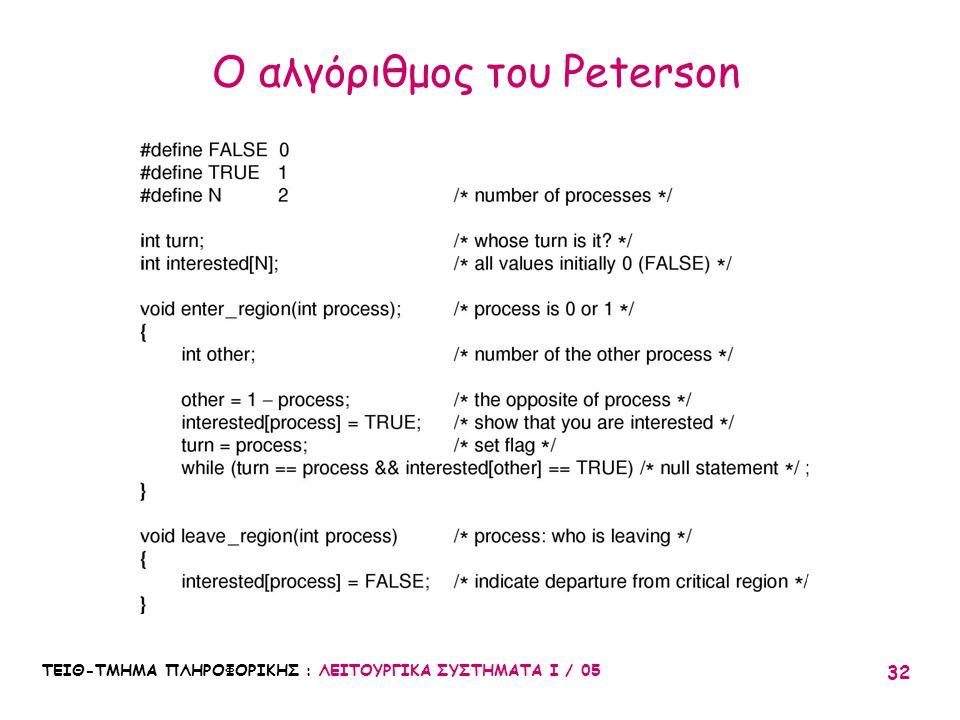 Ο αλγόριθμος του Peterson