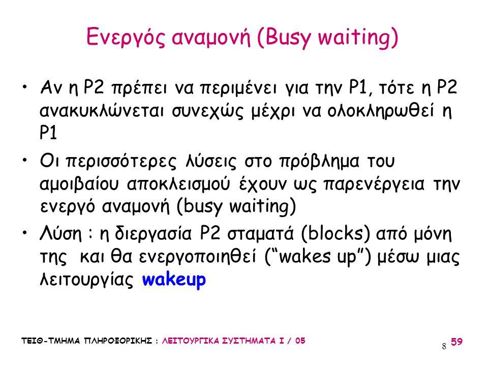 Ενεργός αναμονή (Busy waiting)