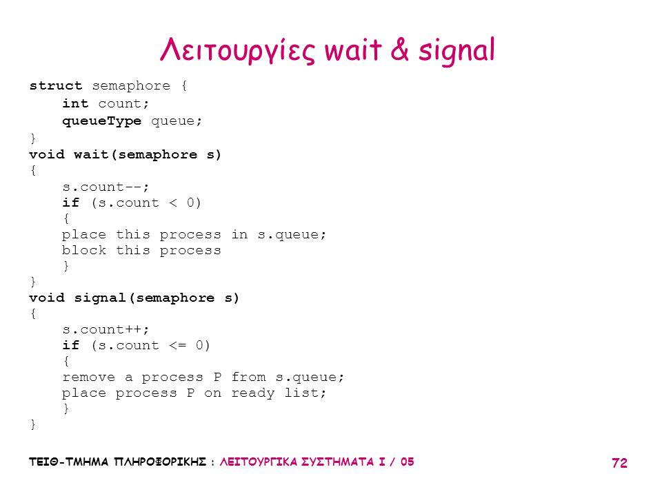 Λειτουργίες wait & signal