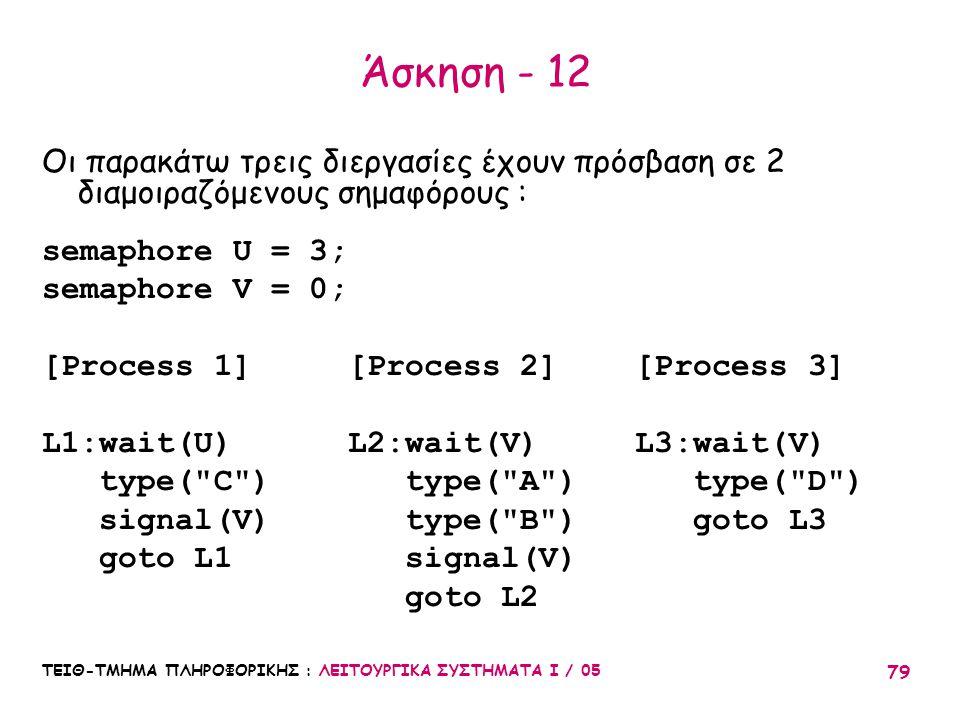 Άσκηση - 12 Οι παρακάτω τρεις διεργασίες έχουν πρόσβαση σε 2 διαμοιραζόμενους σημαφόρους : semaphore U = 3;