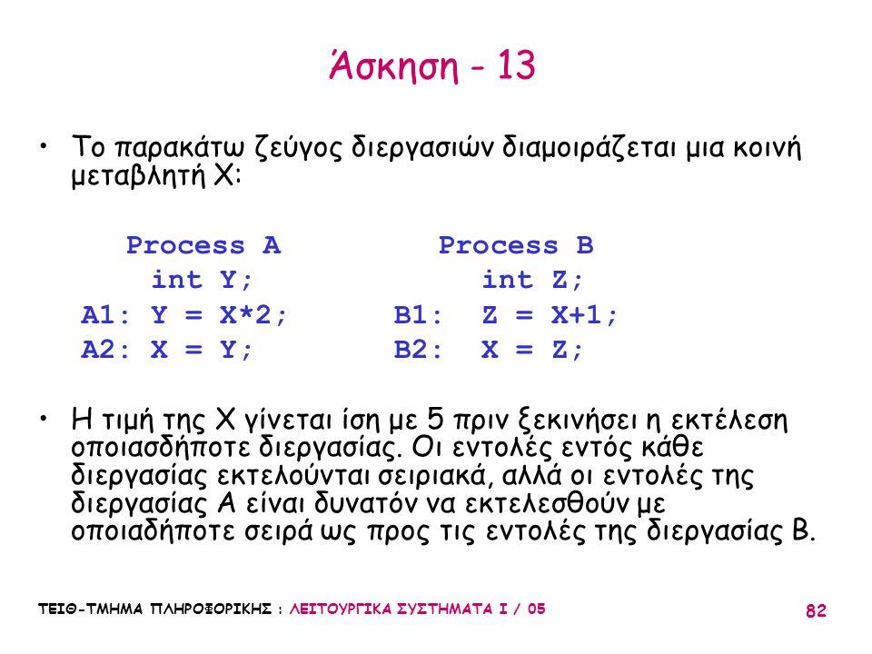 Άσκηση - 13 Το παρακάτω ζεύγος διεργασιών διαμοιράζεται μια κοινή μεταβλητή X: Process A Process B.