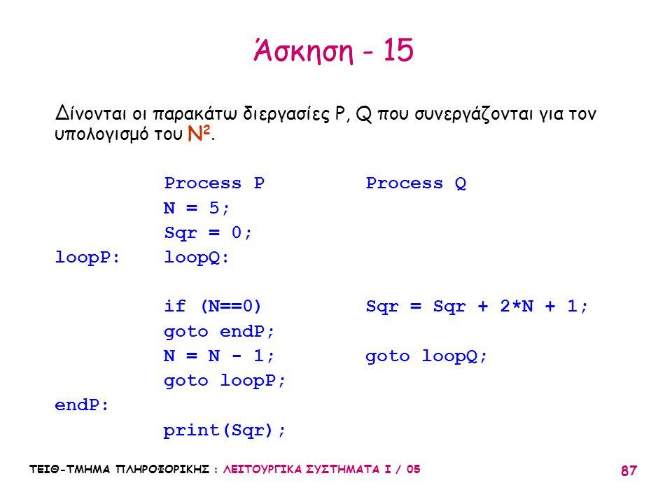 Άσκηση - 15 Δίνονται οι παρακάτω διεργασίες P, Q που συνεργάζονται για τον υπολογισμό του Ν2. Process P Process Q.