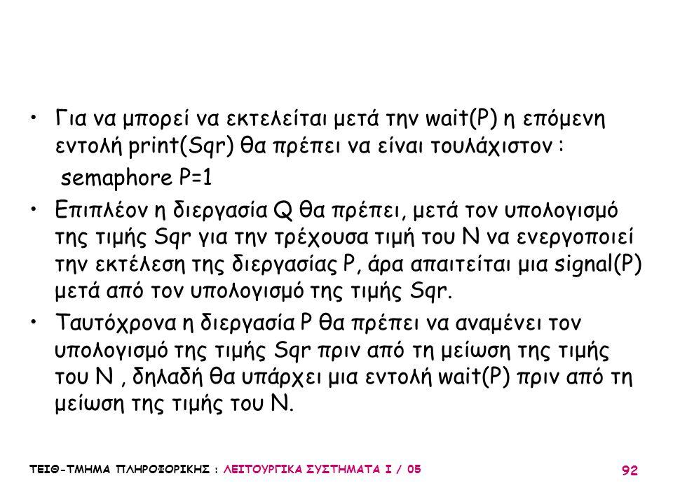 Για να μπορεί να εκτελείται μετά την wait(P) η επόμενη εντολή print(Sqr) θα πρέπει να είναι τουλάχιστον :