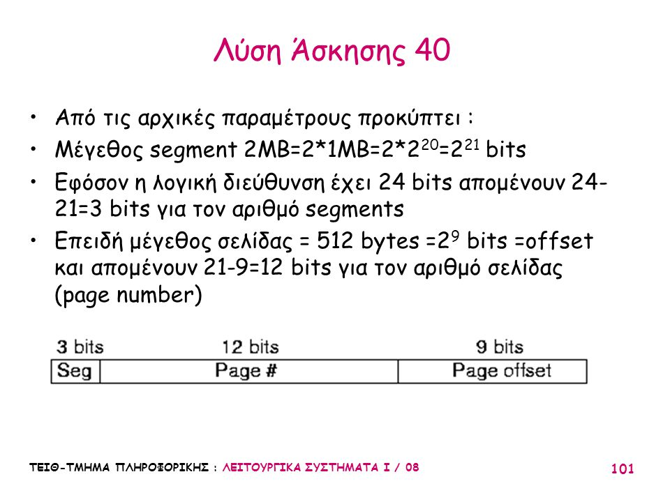 Λύση Άσκησης 40 Από τις αρχικές παραμέτρους προκύπτει :