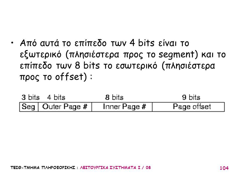 Από αυτά το επίπεδο των 4 bits είναι το εξωτερικό (πλησιέστερα προς το segment) και το επίπεδο των 8 bits το εσωτερικό (πλησιέστερα προς το offset) :