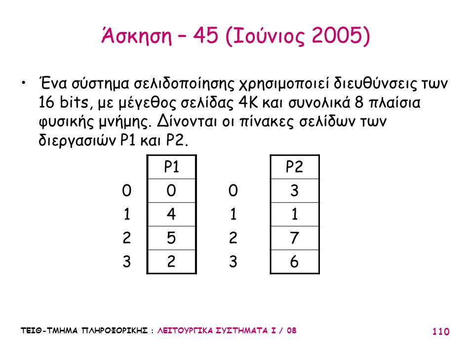 Άσκηση – 45 (Ιούνιος 2005)