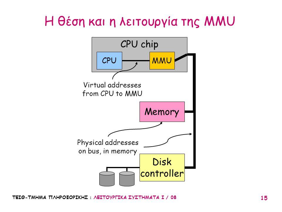 Η θέση και η λειτουργία της MMU