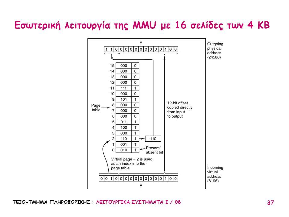 Εσωτερική λειτουργία της MMU με 16 σελίδες των 4 KB