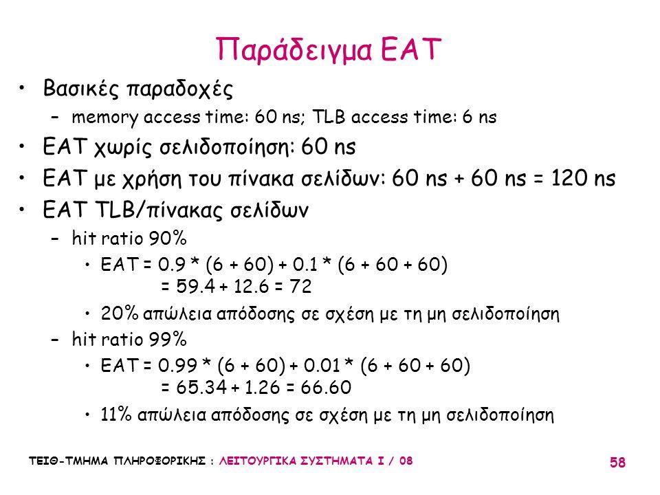Παράδειγμα EAT Βασικές παραδοχές EAT χωρίς σελιδοποίηση: 60 ns