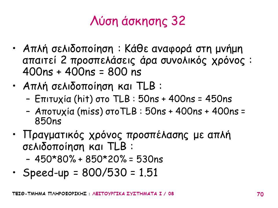 Λύση άσκησης 32 Απλή σελιδοποίηση : Κάθε αναφορά στη μνήμη απαιτεί 2 προσπελάσεις άρα συνολικός χρόνος : 400ns + 400ns = 800 ns.