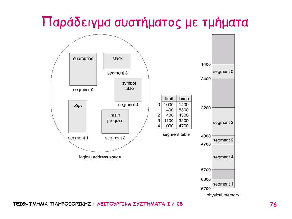 Παράδειγμα συστήματος με τμήματα